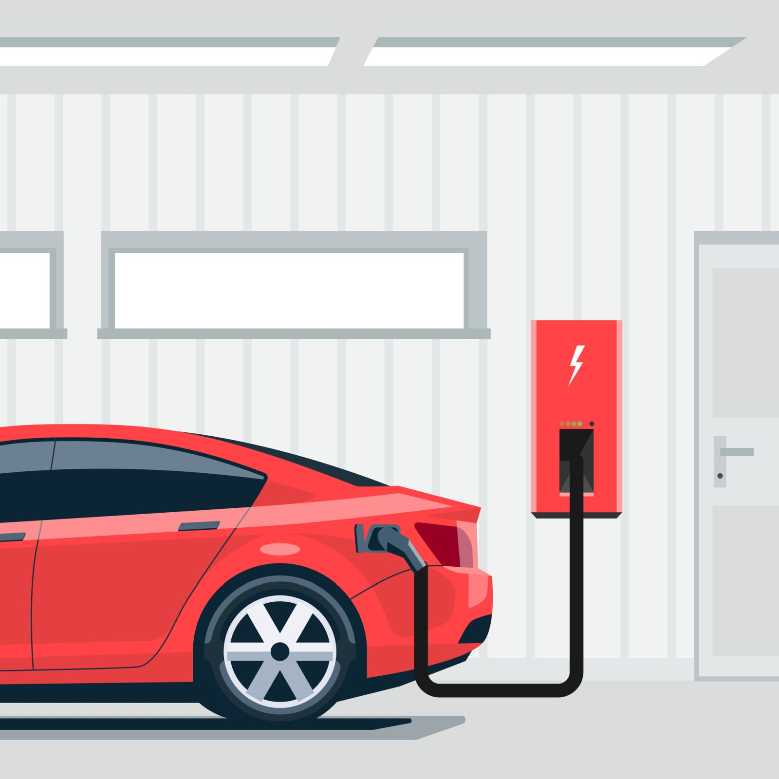 Electric Car Charging at Home in Garage